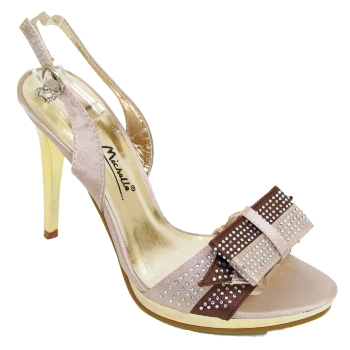 CHAMPAGNE DIAMANTE WEDDING BRIDESMAID SHOE SIZE 3-8 Preview